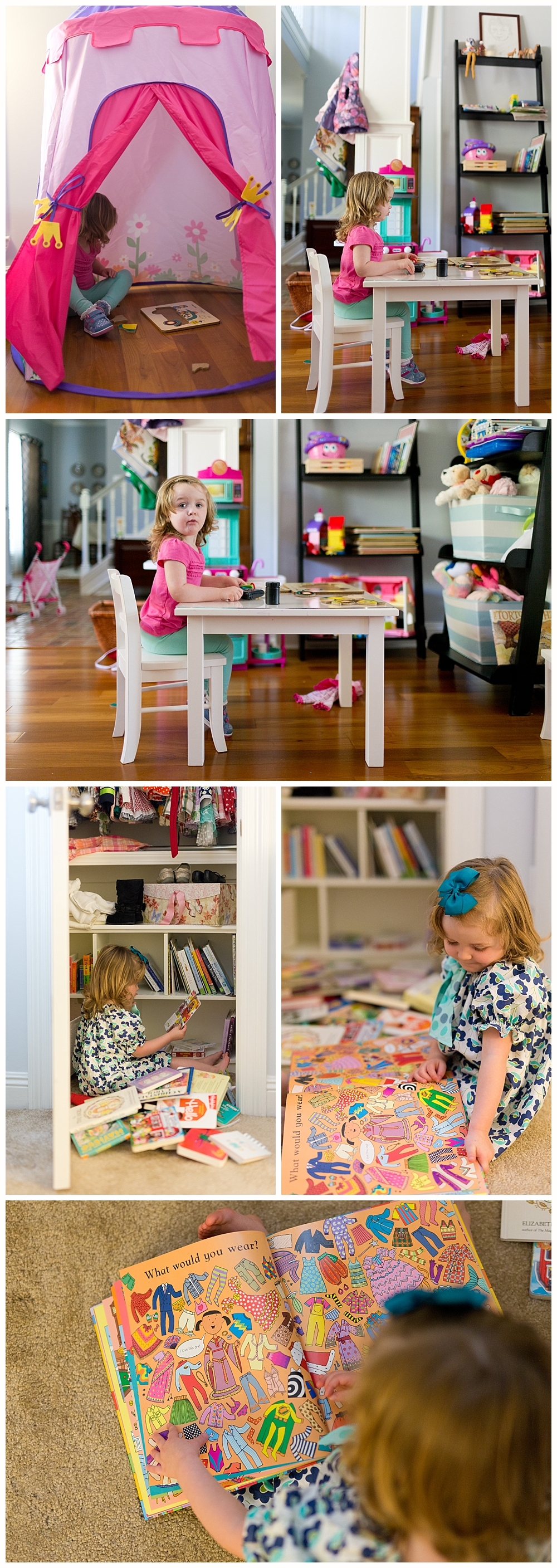 two-year-old girl playing in castle tent, in playroom, reading books in bedroom - Ocean Springs lifestyle photographer