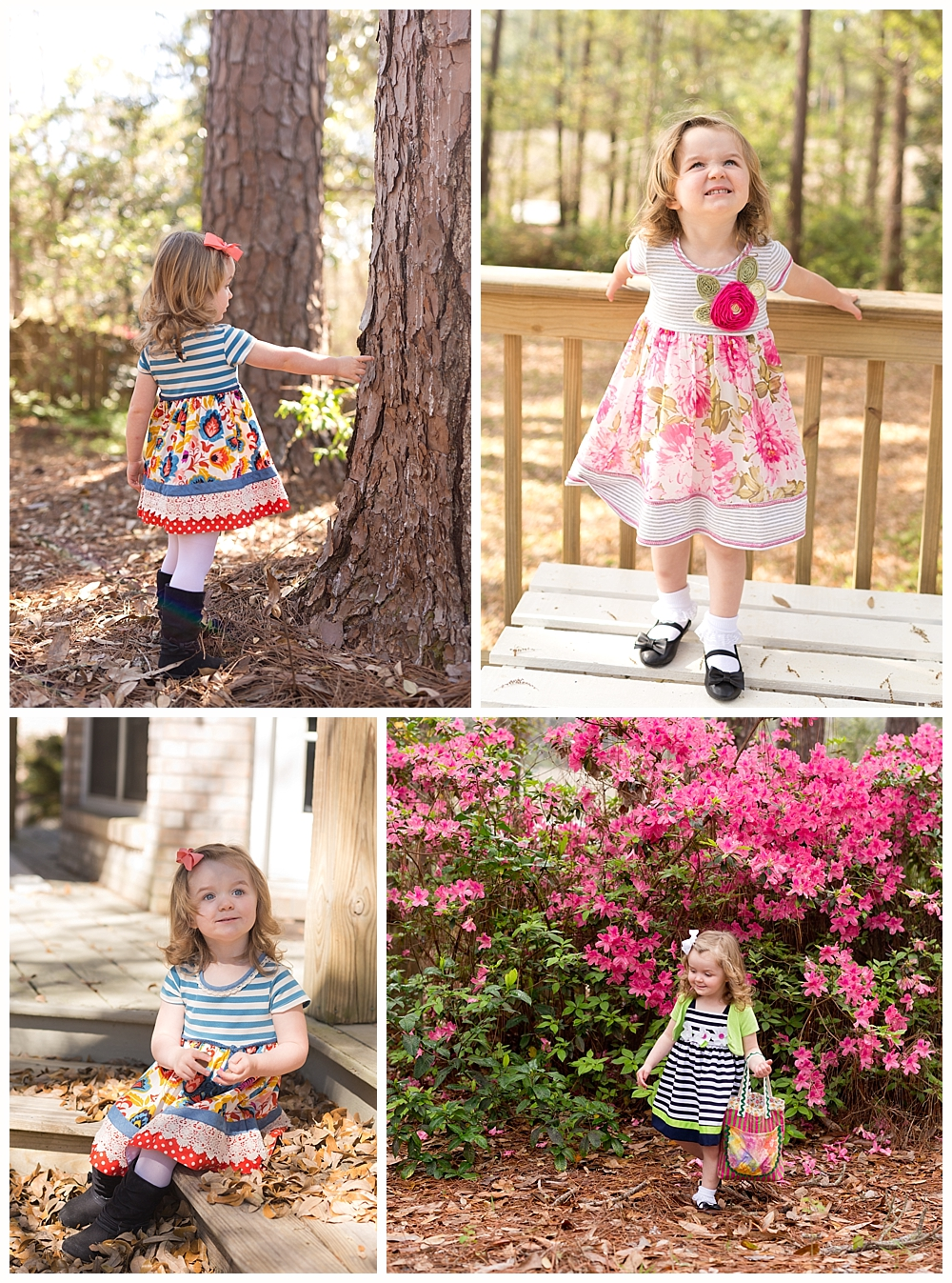 two-year-old girl in church dresses in back yard