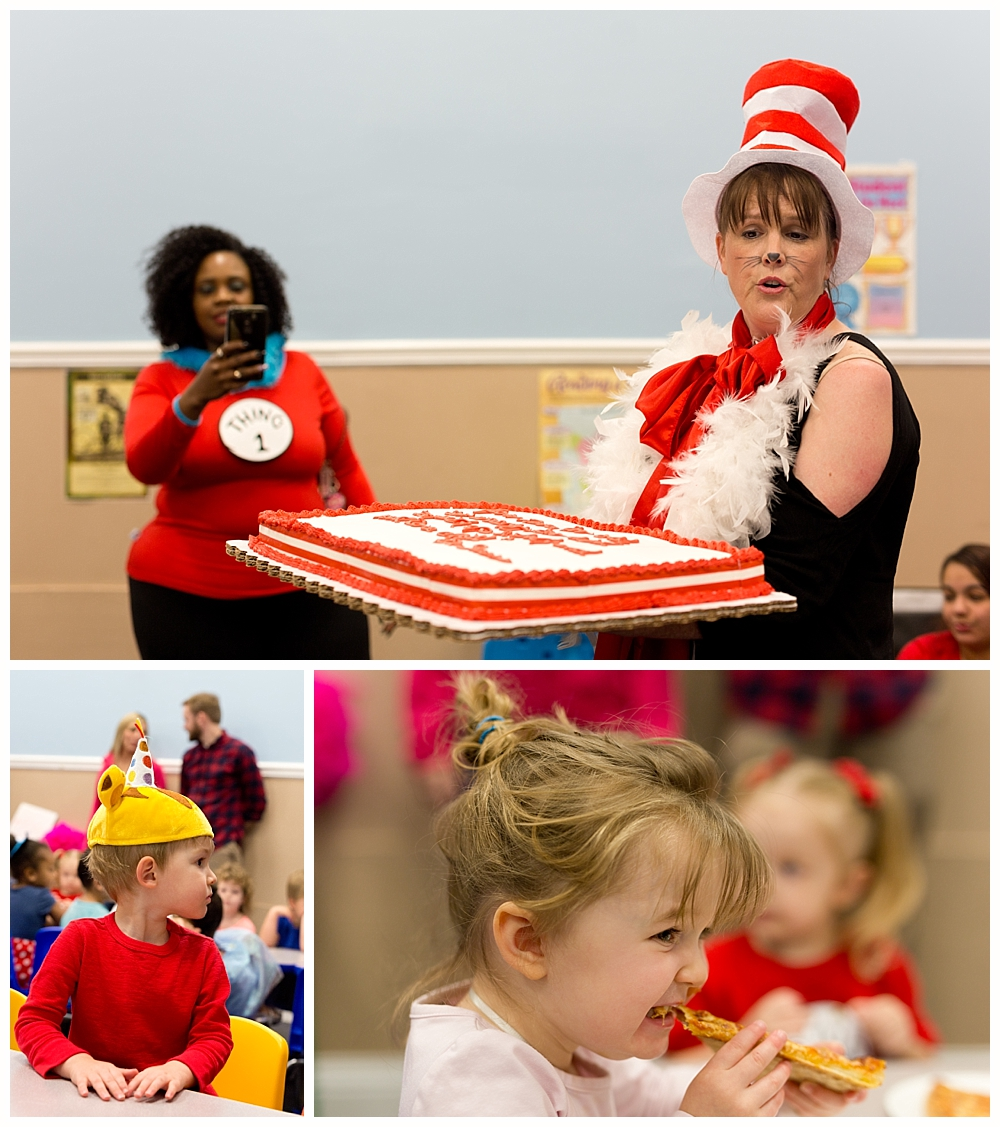 birthday party for Dr. Seuss at preschool - teacher in Cat in the Hat costume