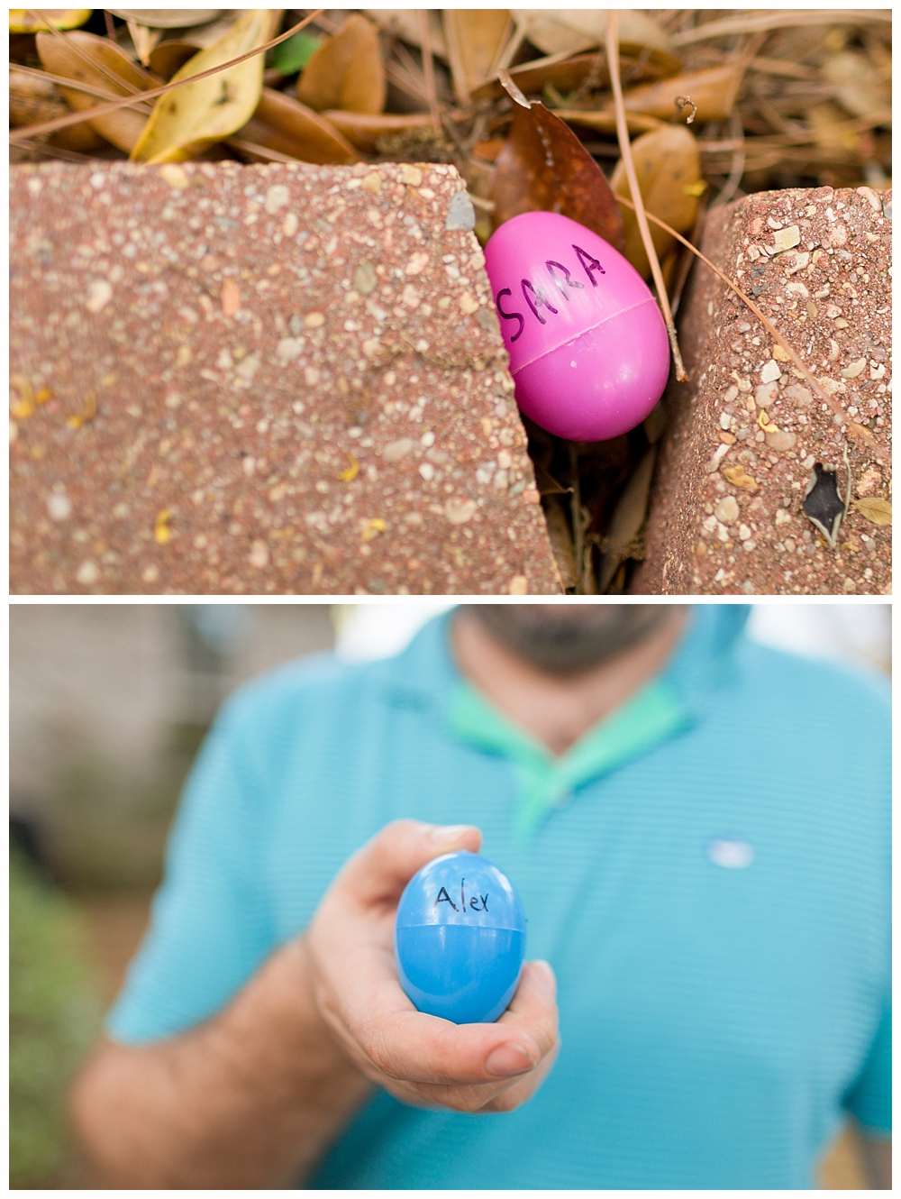 Easter Egg Hunt with names on eggs