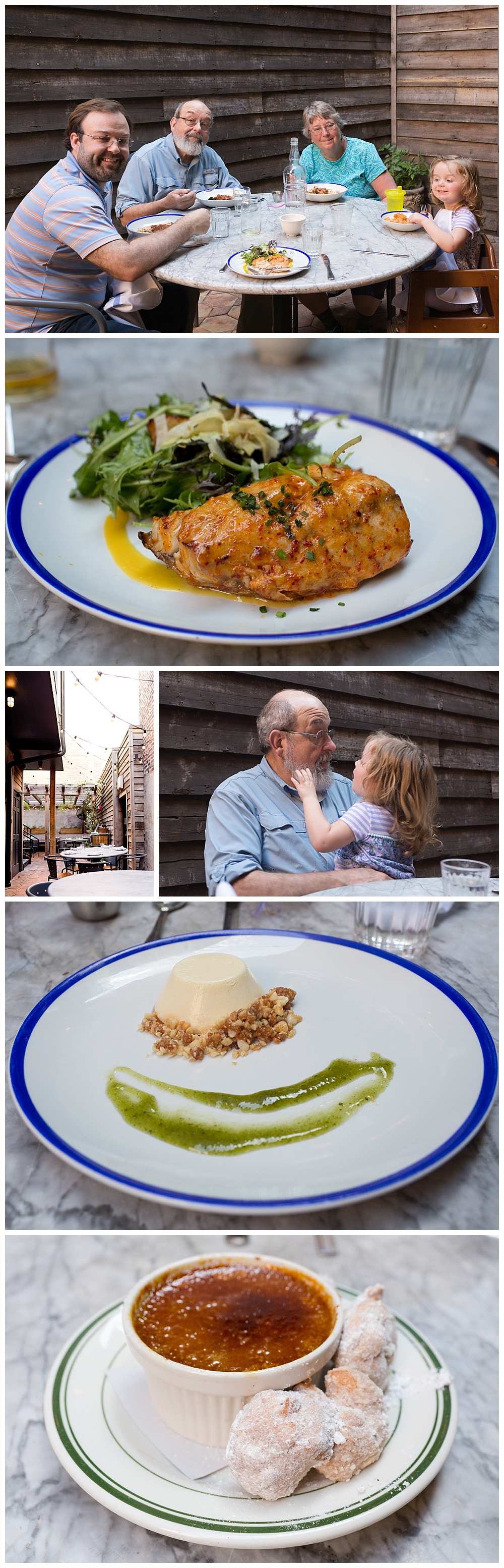 seafood and dessert at Seaworthy restaurant in New Orleans