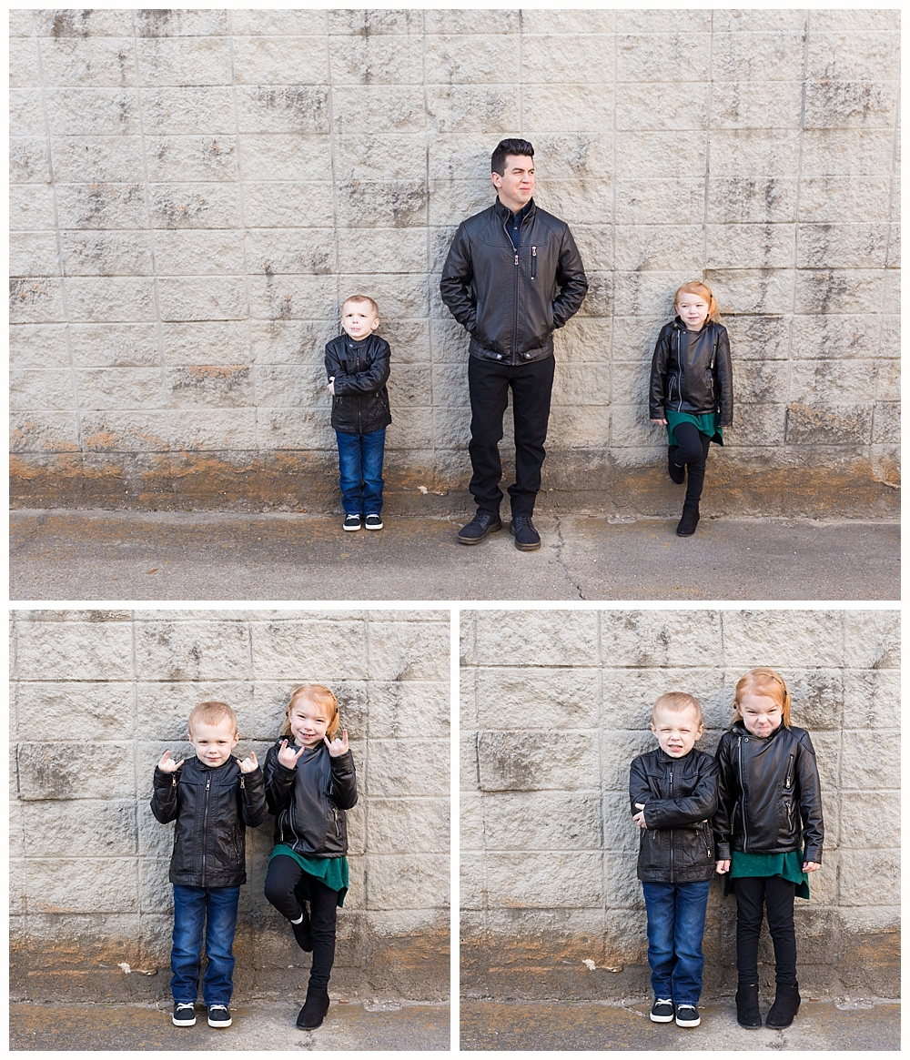 Ocean Springs family pictures - urban family photos with leather jackets
