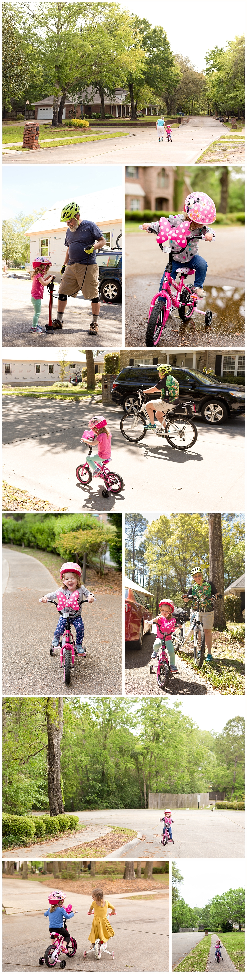 three-year-old girl riding bicycle in neighborhood - Ocean Springs lifestyle photography