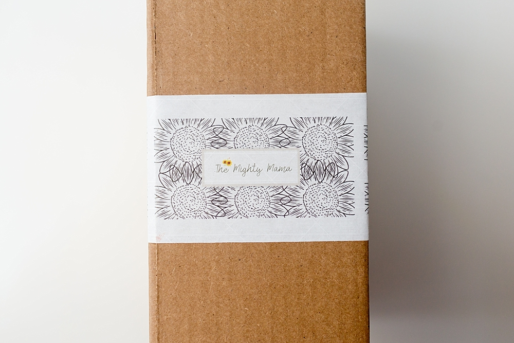 The Mighty Mama Box packaging - postpartum subscription box