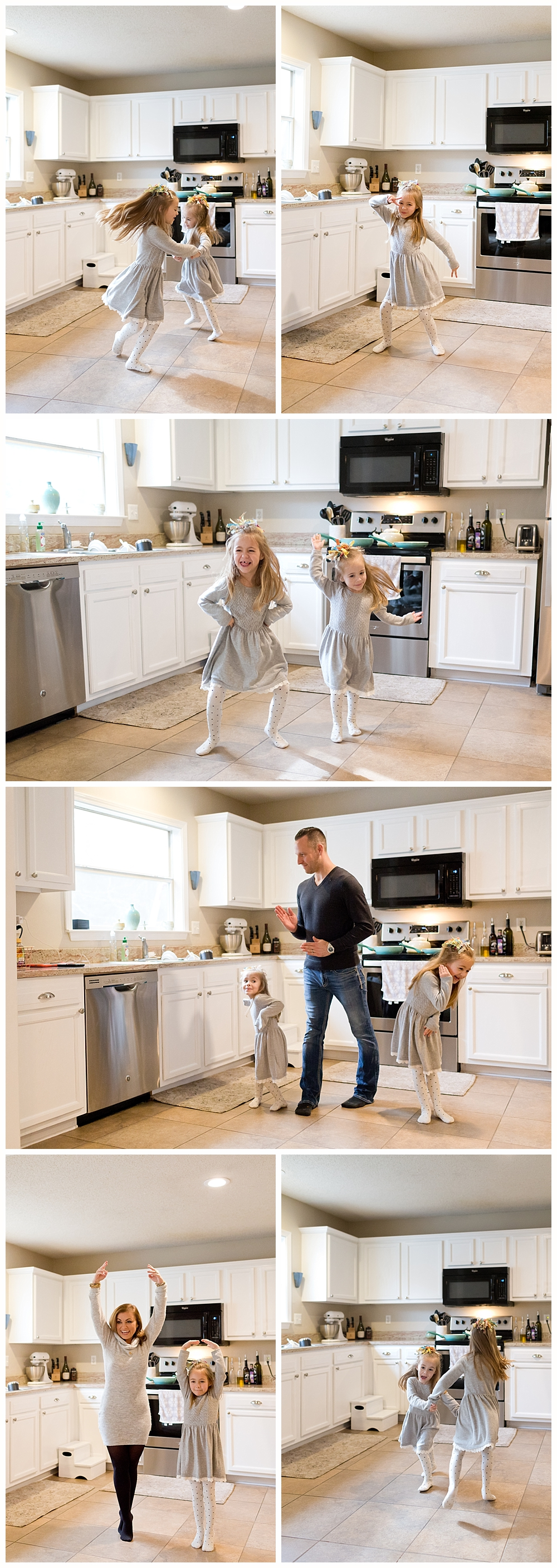 fun family photos at home - dance party in the kitchen - Ocean Springs family photographer