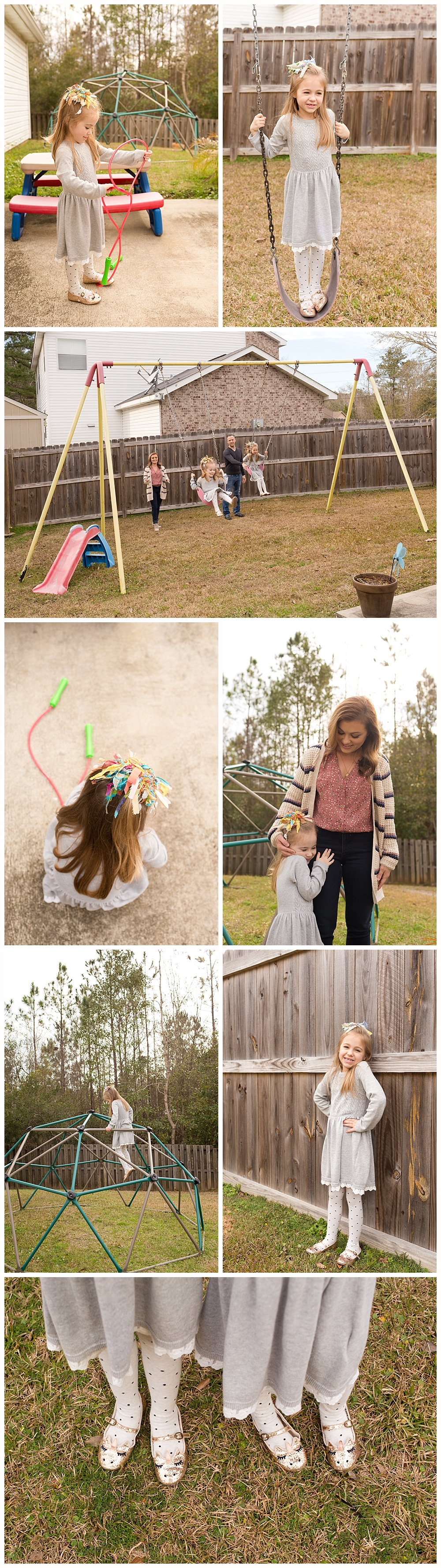 candid lifestyle family photos in back yard - Ocean Springs photographer