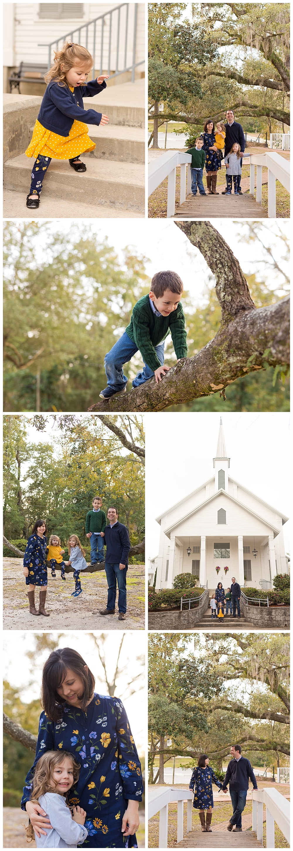 family pictures at First Presbyterian Church in Ocean Springs, Mississippi