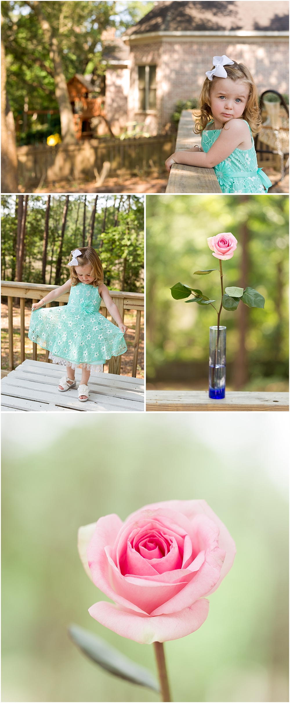little girl in aqua dress and pretty pink rose - Ocean Springs lifestyle photographer