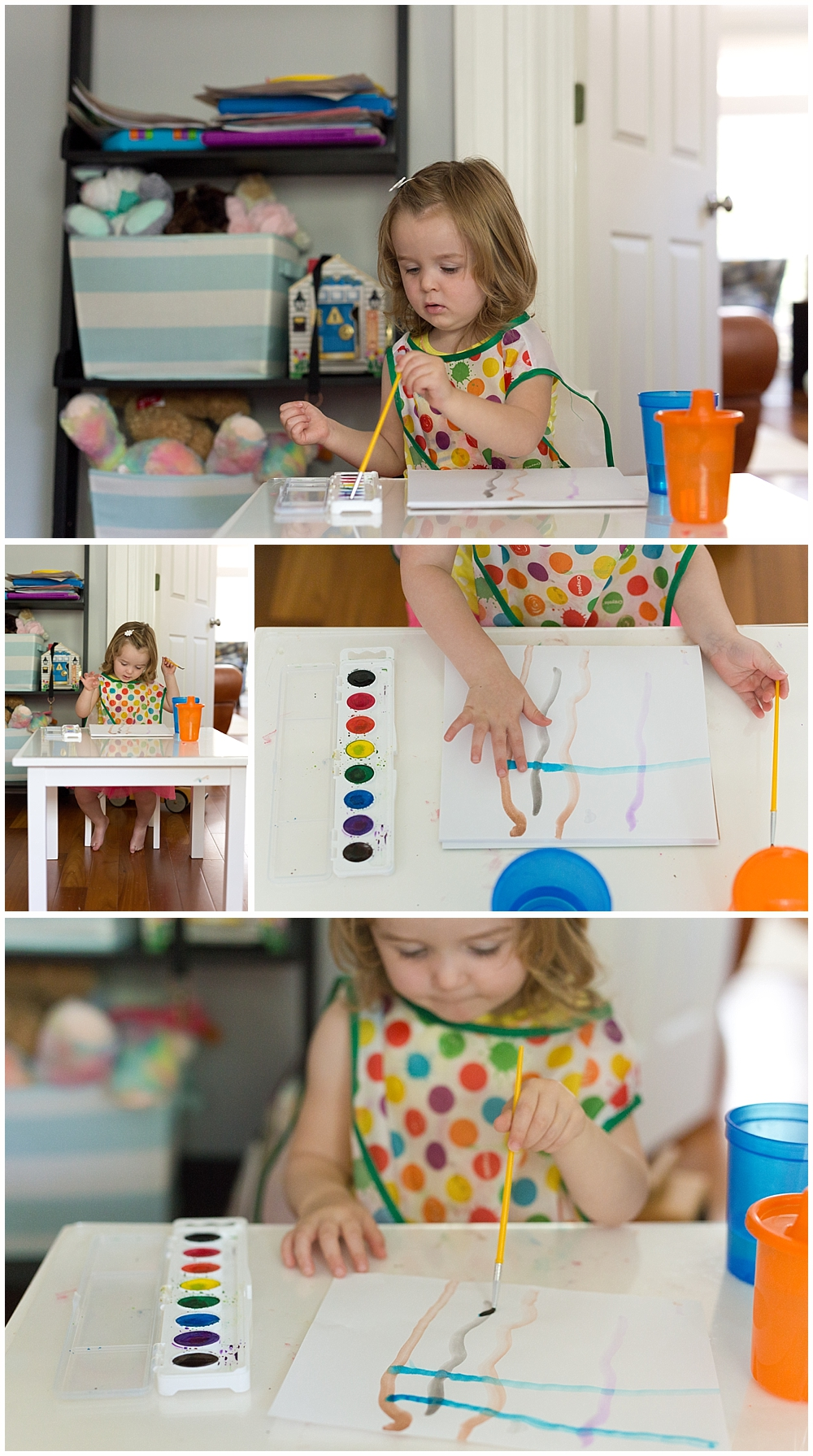 little girl painting with water colors in playroom