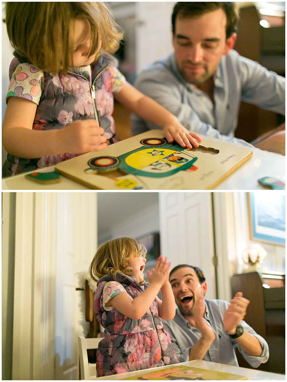 little girl doing vintage puzzle with uncle