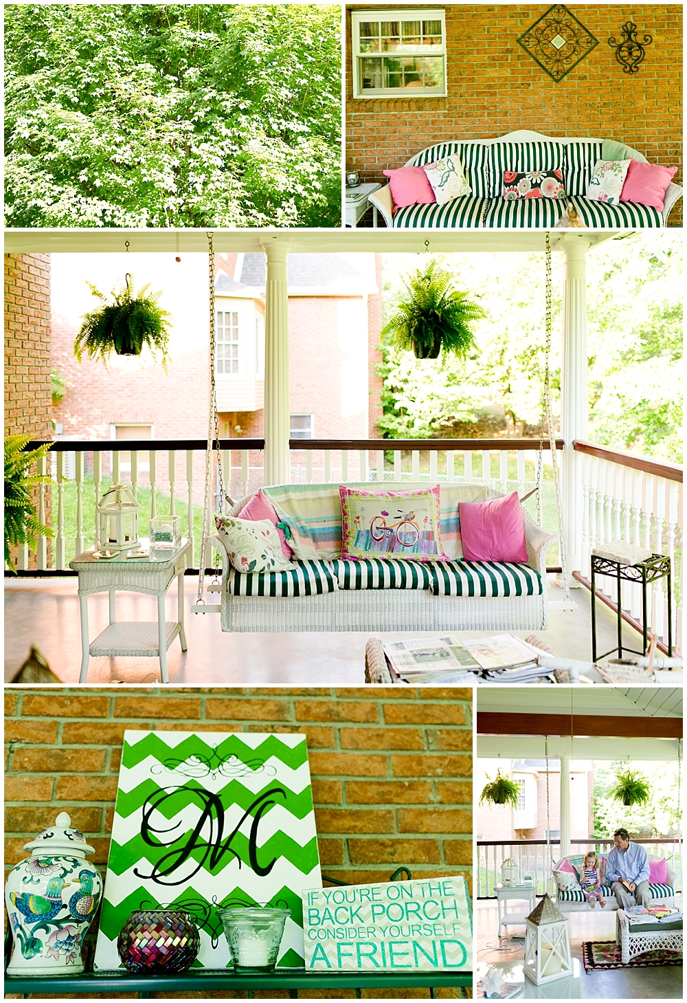 beautiful summertime back porch in Ashland, Kentucky