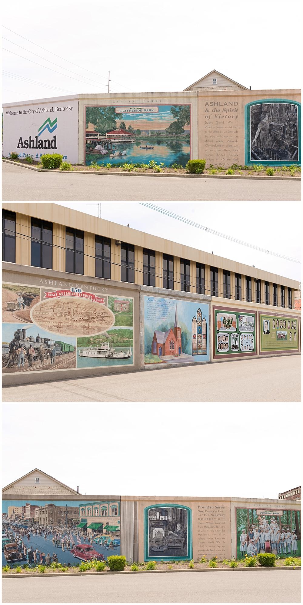 murals on flood wall in Ashland, Kentucky