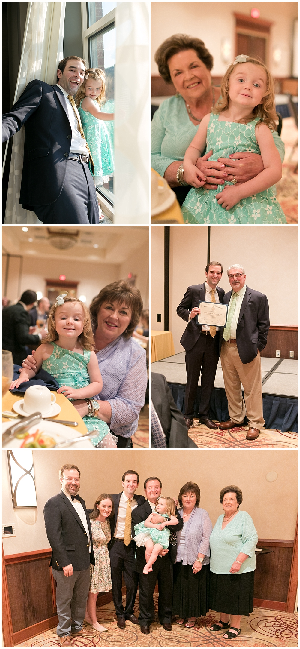 family celebrating medical residency graduation at banquet