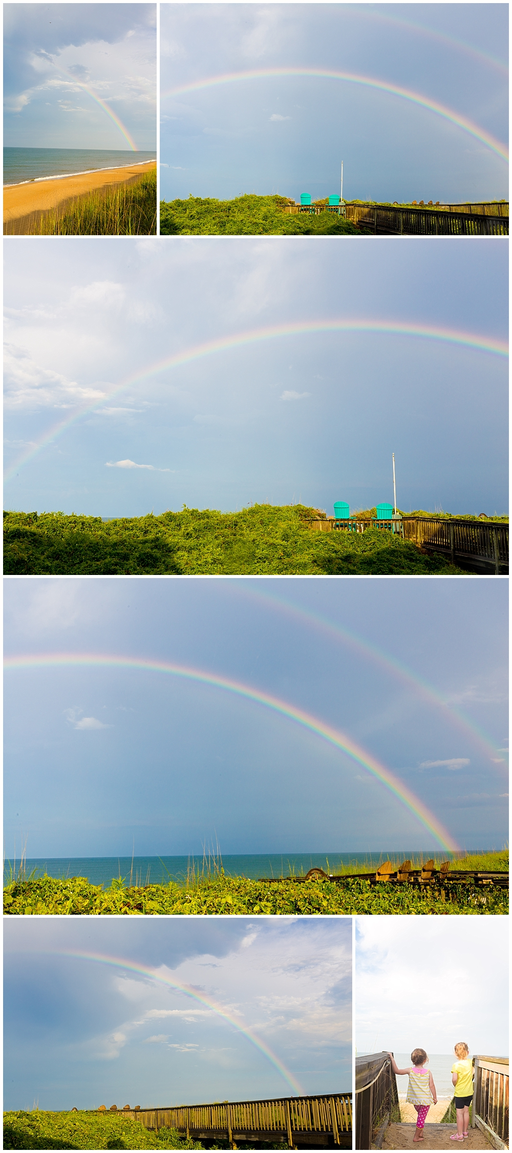 double rainbow on the beach in Duck, North Carolina