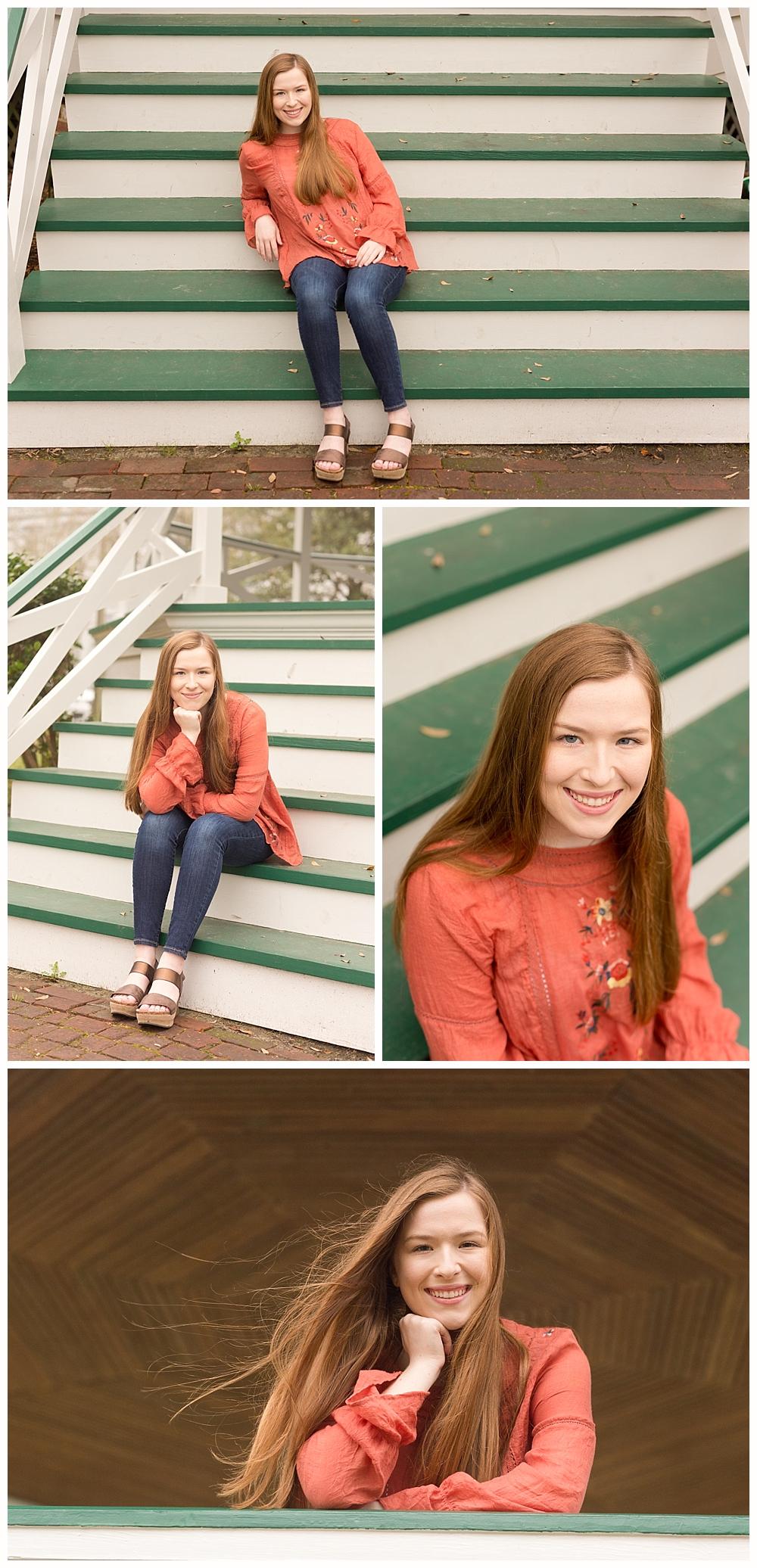 Ocean Springs senior pictures at Marshall Park gazebo
