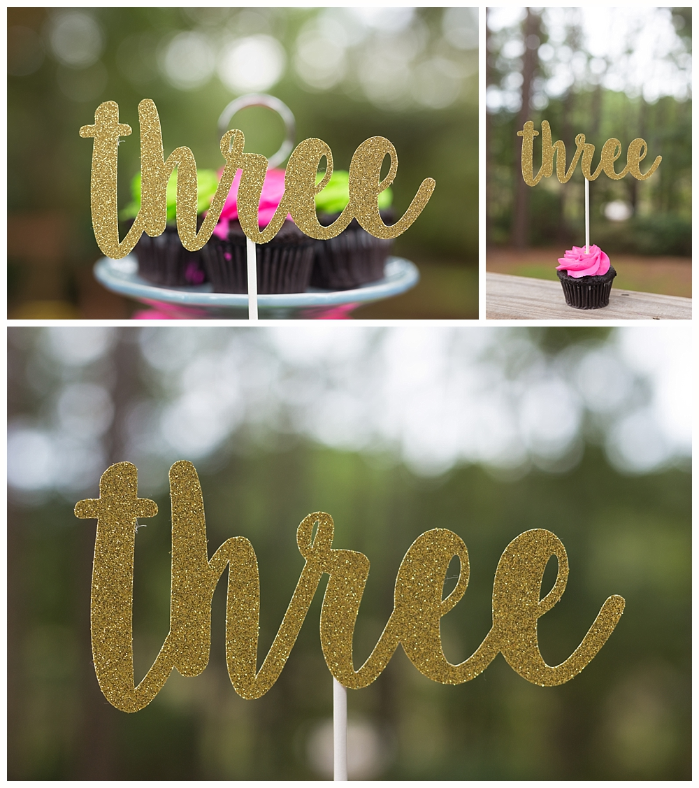 three cake topper for little girl's third birthday party