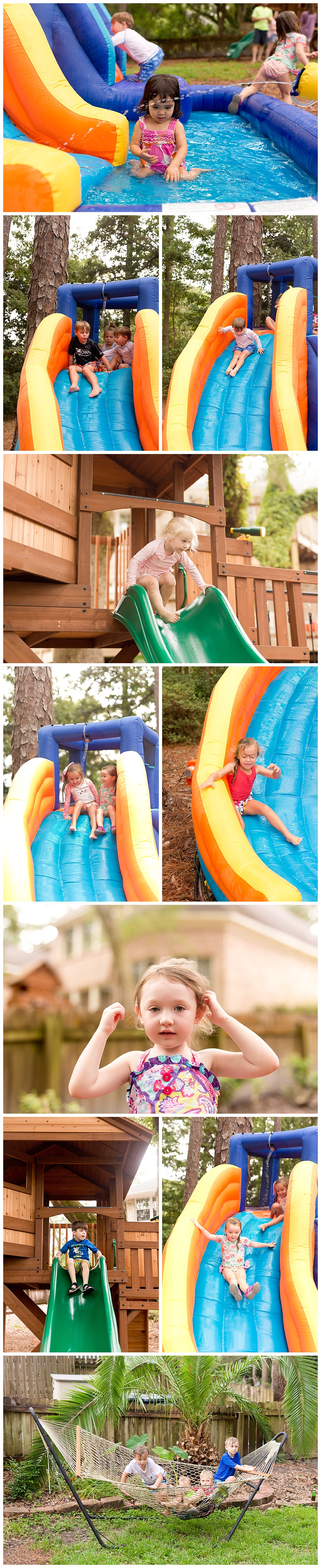 kids playing on inflatable water slide in back yard at child's birthday party