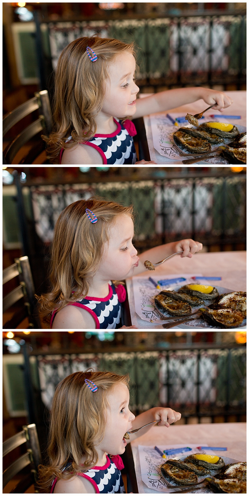three-year-old girl eating oysters at Half Shell Oyster House in Biloxi, MS