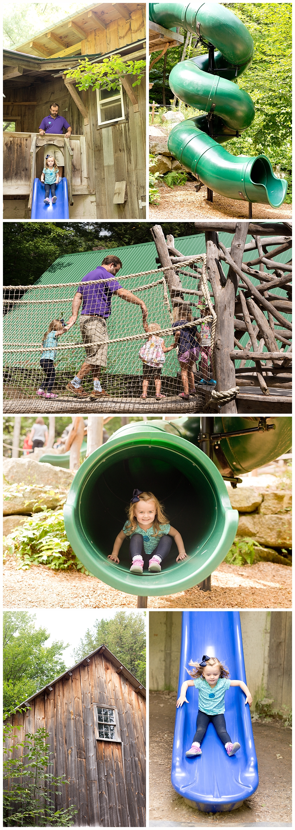 little girl having fun on huge playground at Squam Lakes Natural Science Center