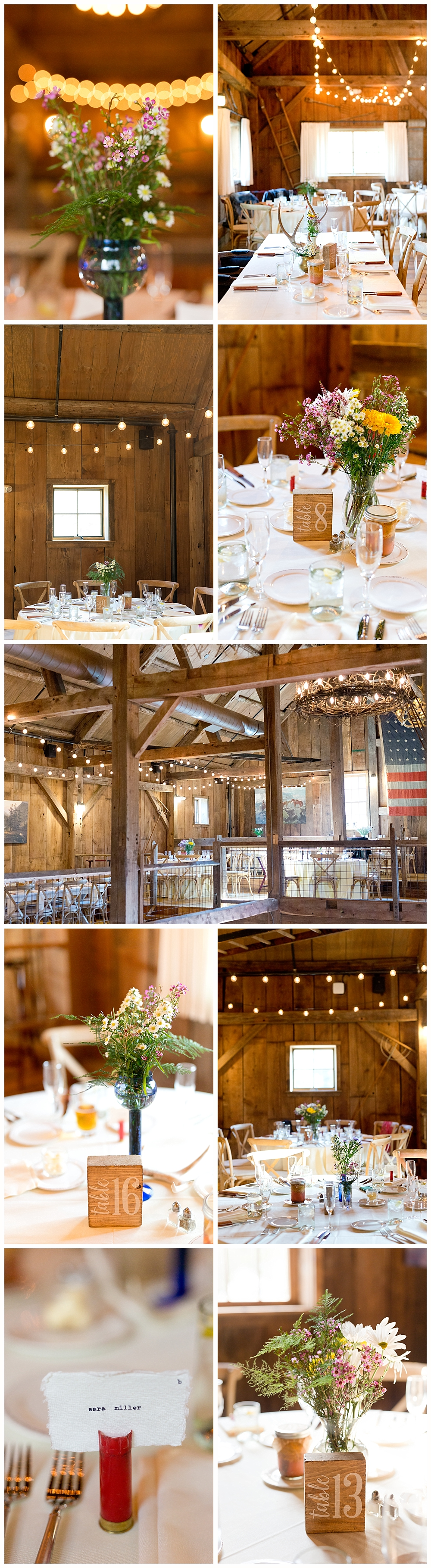rustic barn wedding decorations at Holderness, NH wedding - The Barn on the Pemi wedding venue