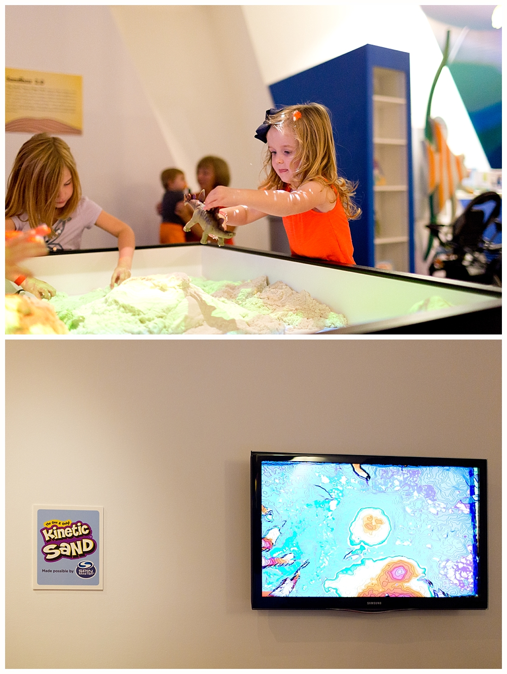 little girl playing with kinetic sand topography exhibit at Strong National Museum of Play