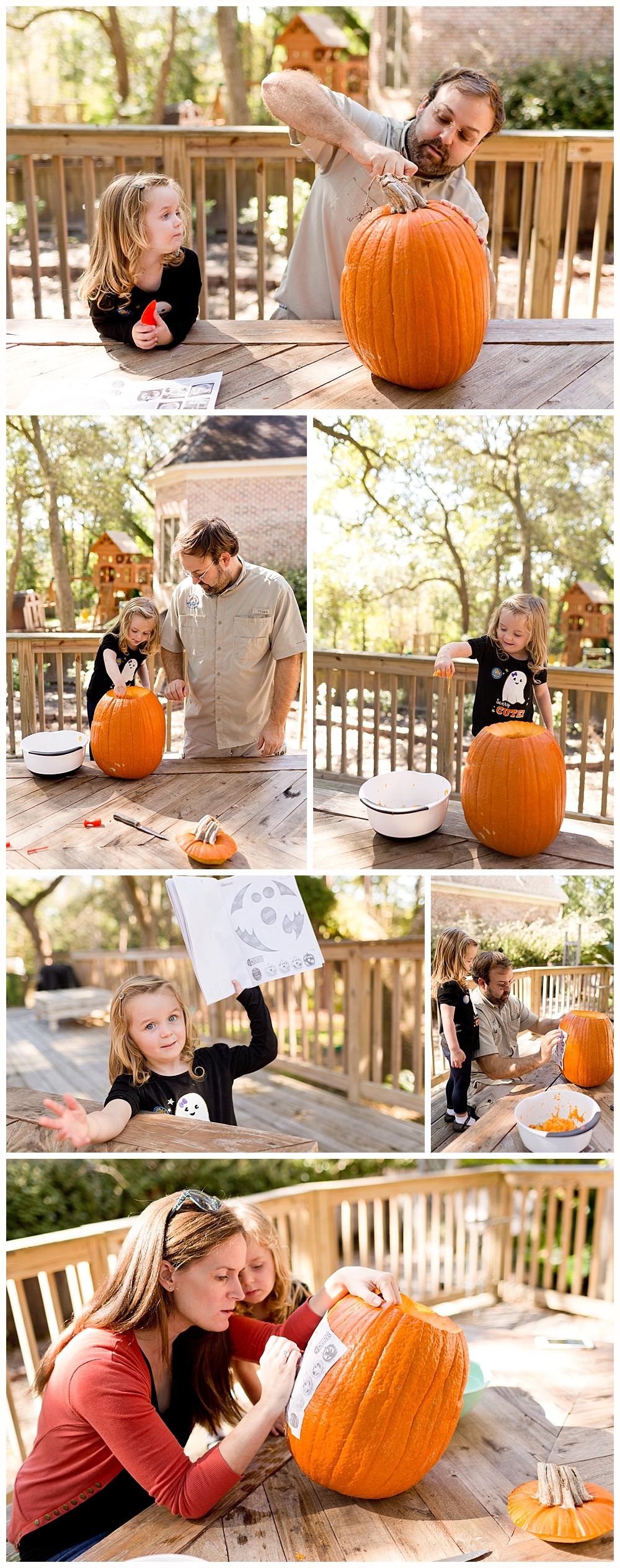 Mom, Dad, and 3-year-old daughter carving pumpkin on back deck in Ocean Springs, MS