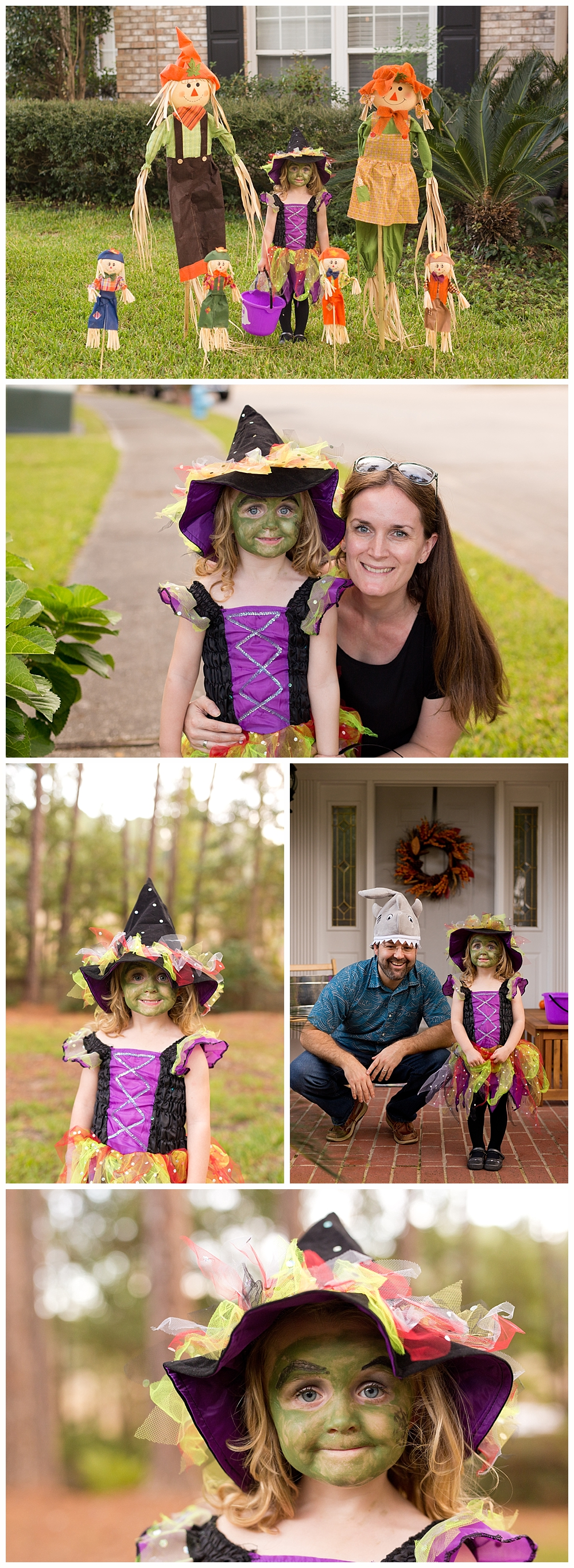 three-year-old girl in witch costume for trick-or-treating - Halloween in Bienville Place, Ocean Springs, Mississippi