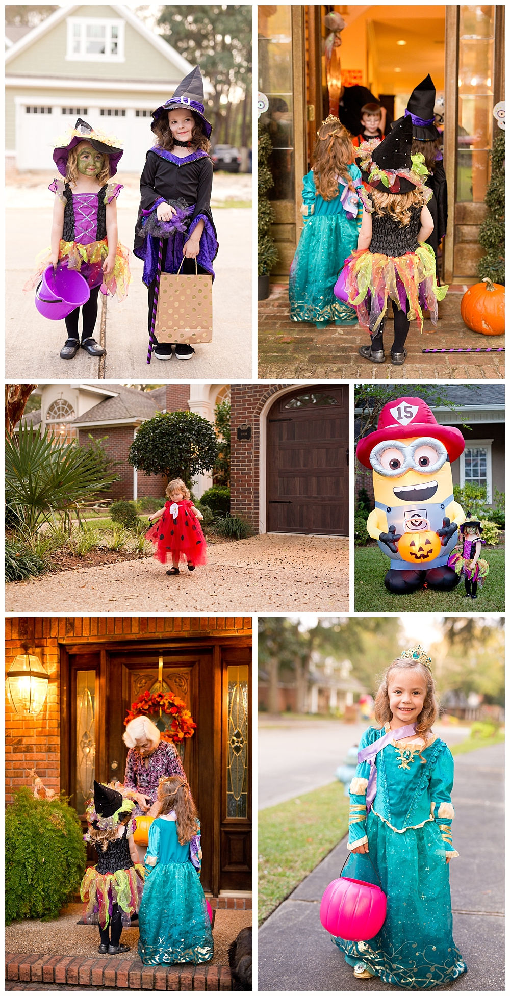 young children trick-or-treating in Bienville Place, Ocean Springs, Mississippi