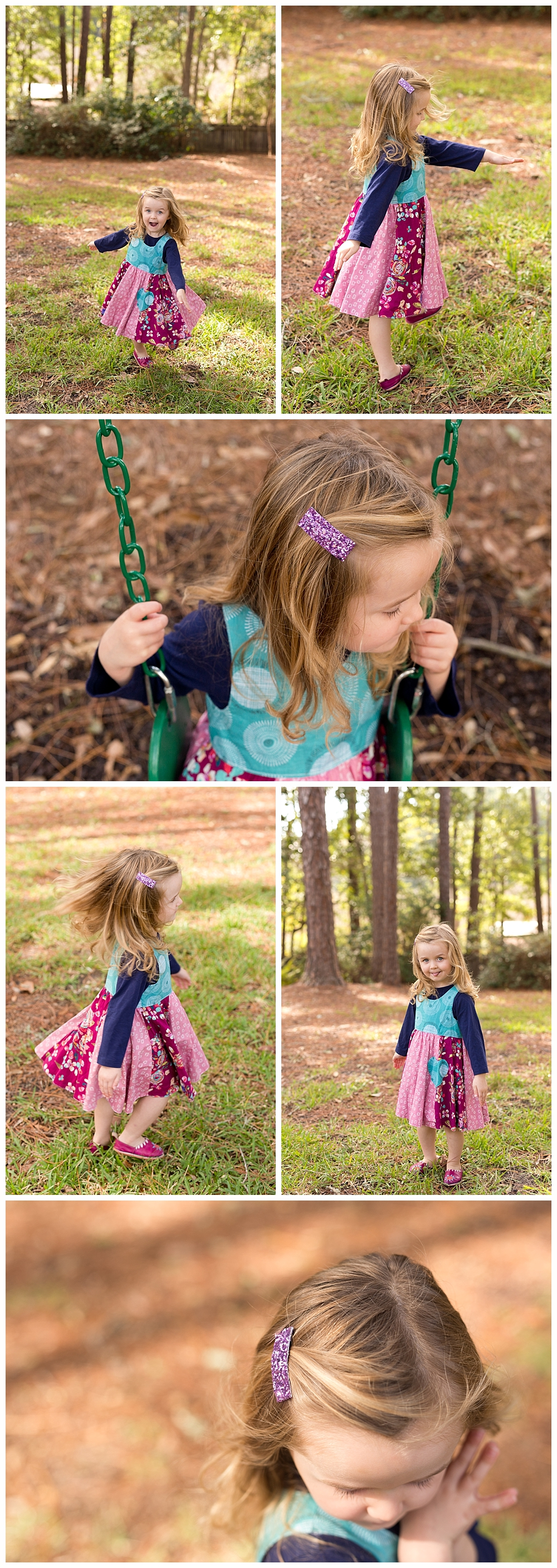 3-year-old girl modeling handmade dress by Unbroken Circle
