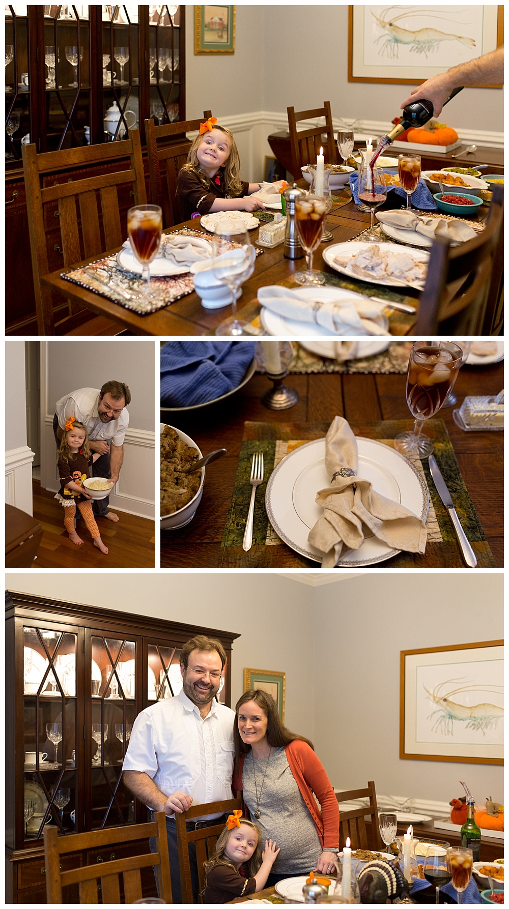 family of three around Thanksgiving dinner table