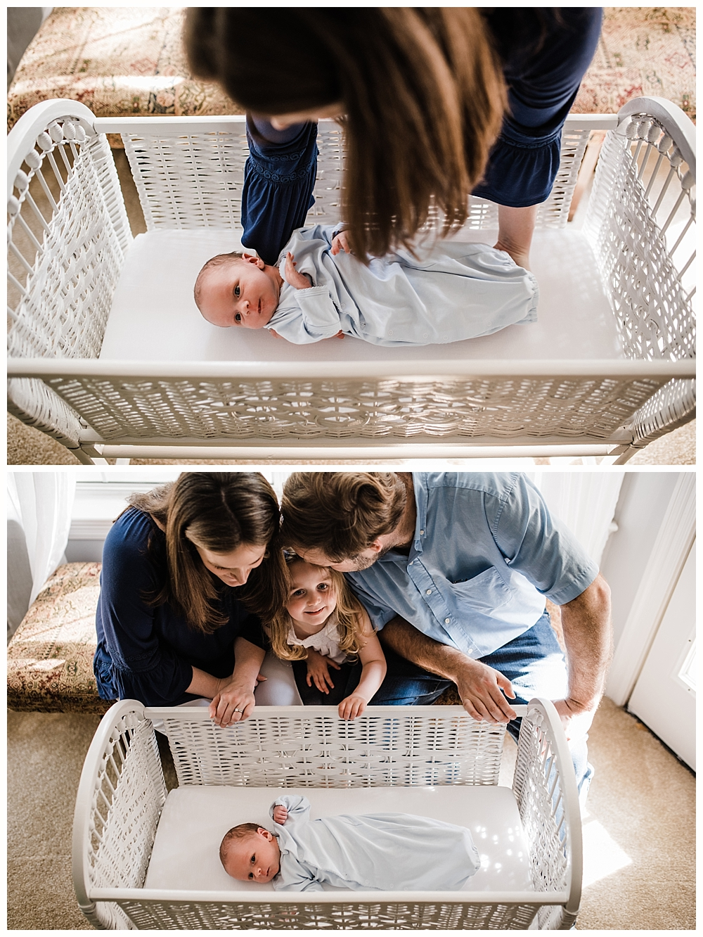 family photos with newborn baby boy in antique bassinet