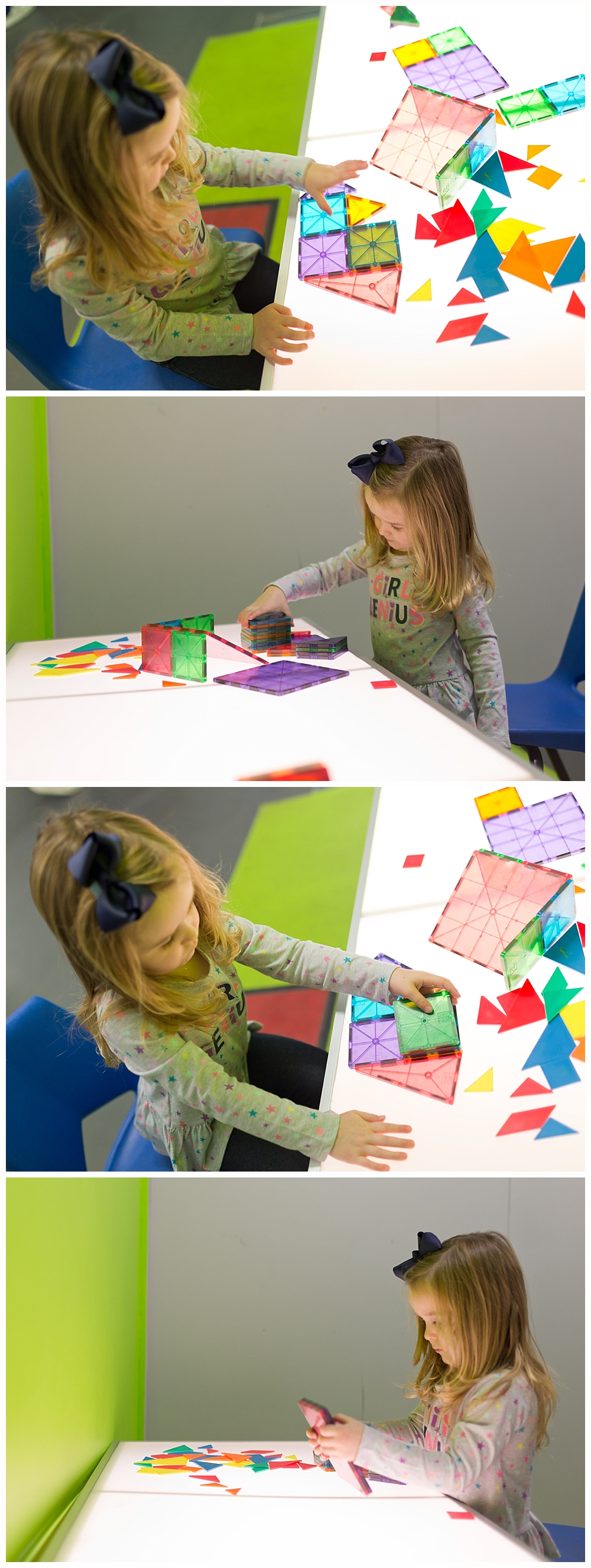 little girl playing with colorful tiles at Highlands Museum and Discovery Center in Ashland, KY