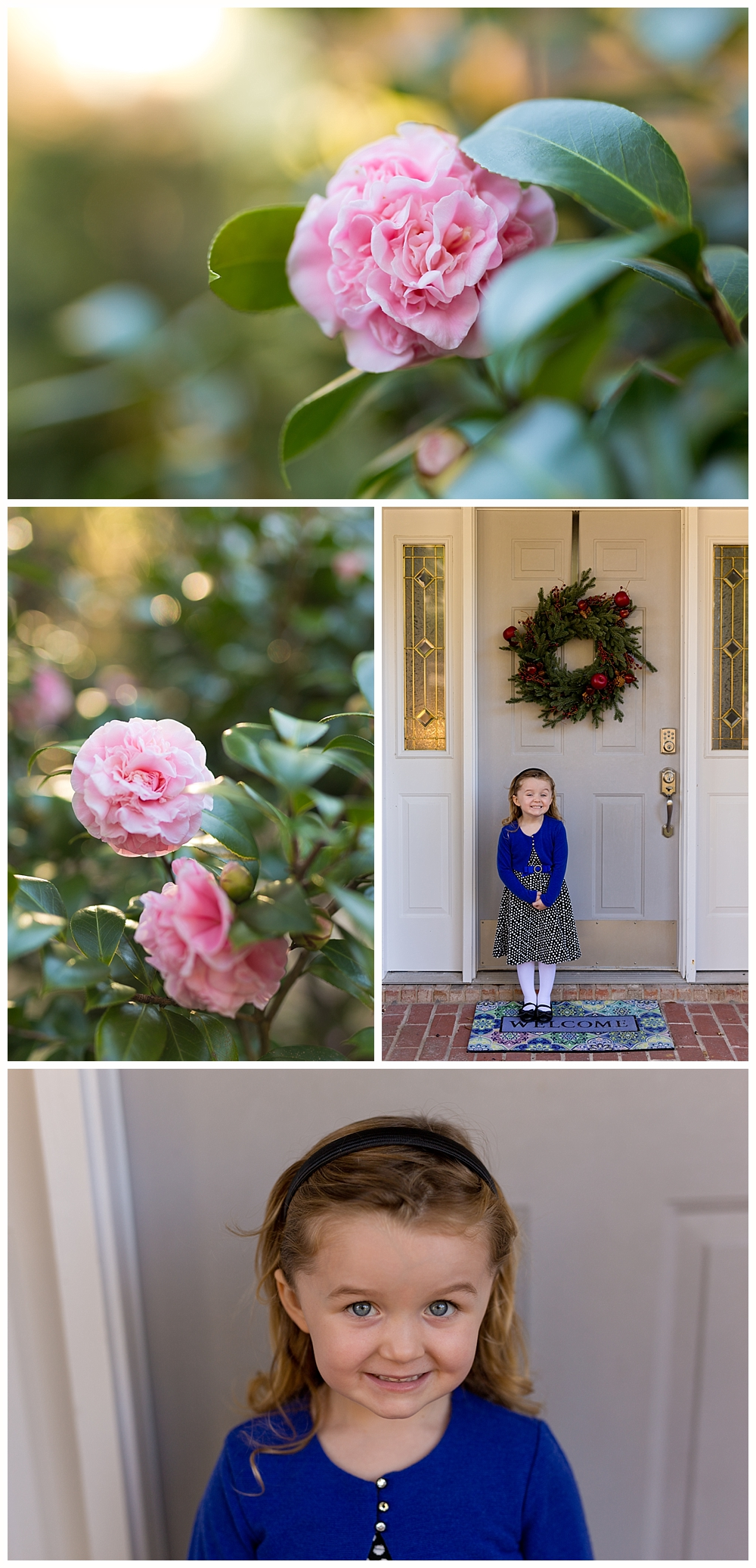 little girl with Christmas wreath and pretty camellias in Ocean Springs, MS