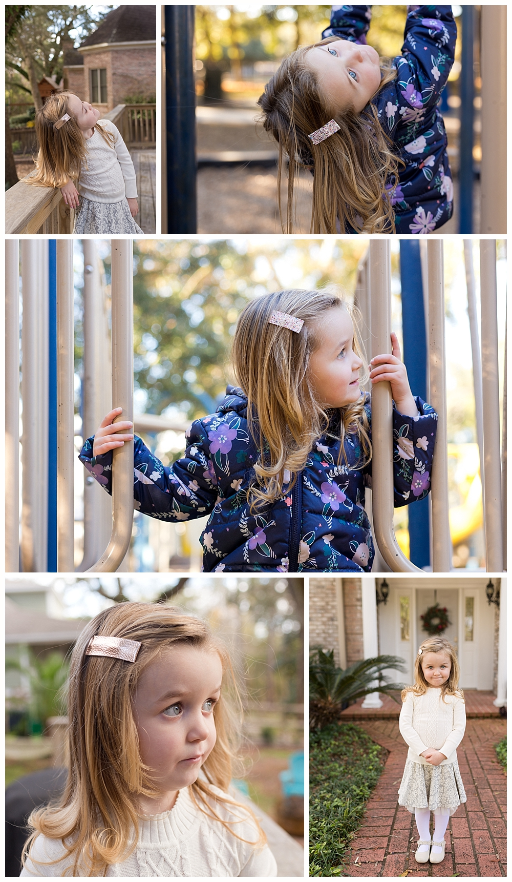 little girl modeling shiny bar hair clips - Ocean Springs lifestyle product photography