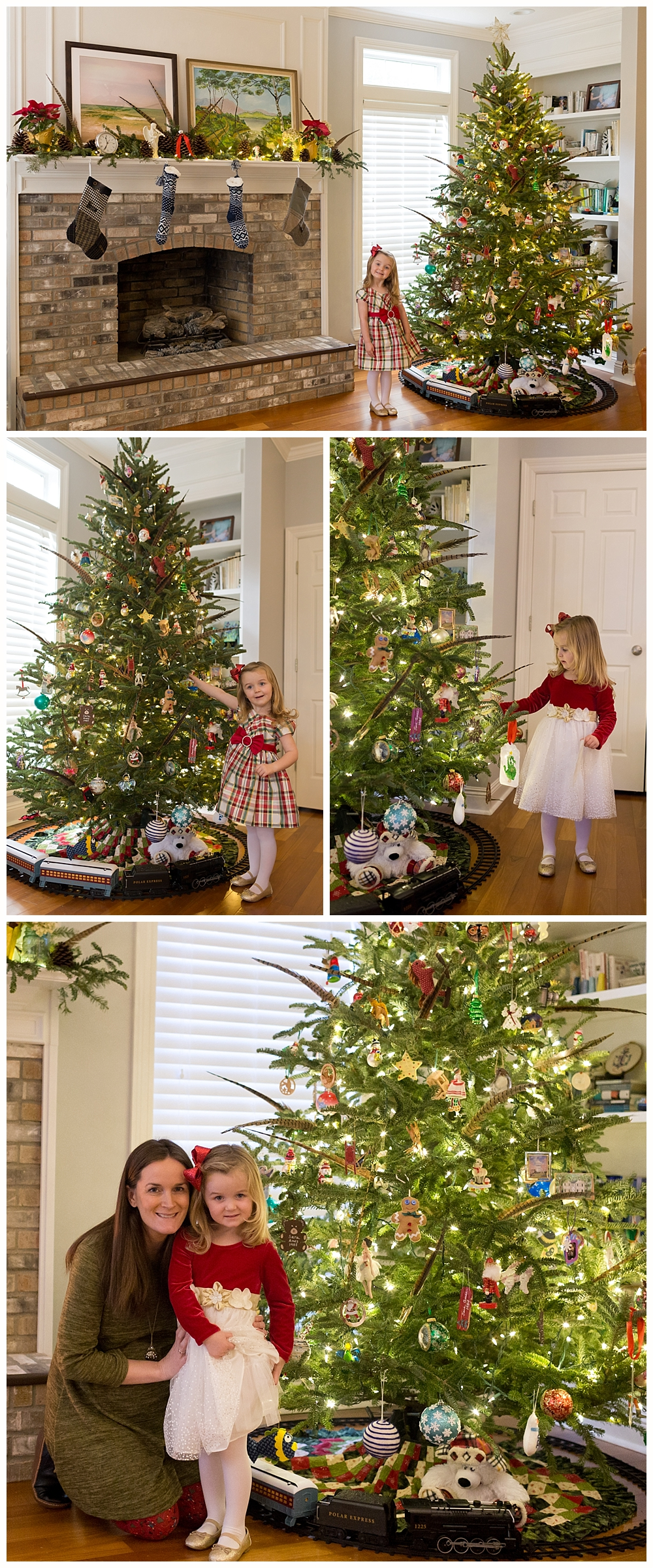 Christmas tree and stockings on mantel in Ocean Springs, Mississippi