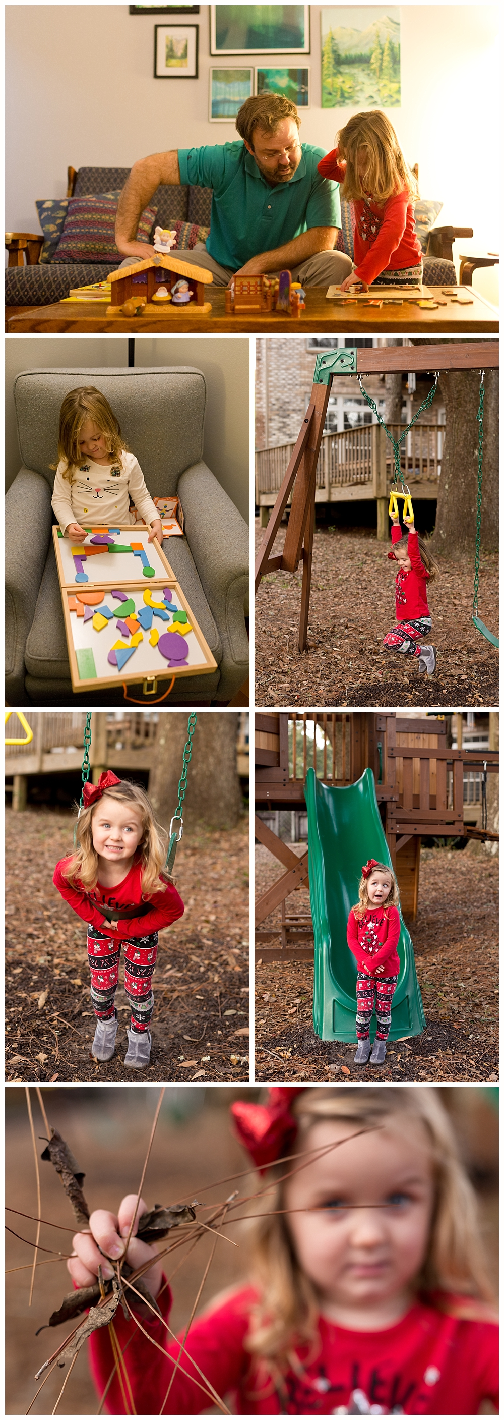 little girl playing on playset and with puzzle and magnet set