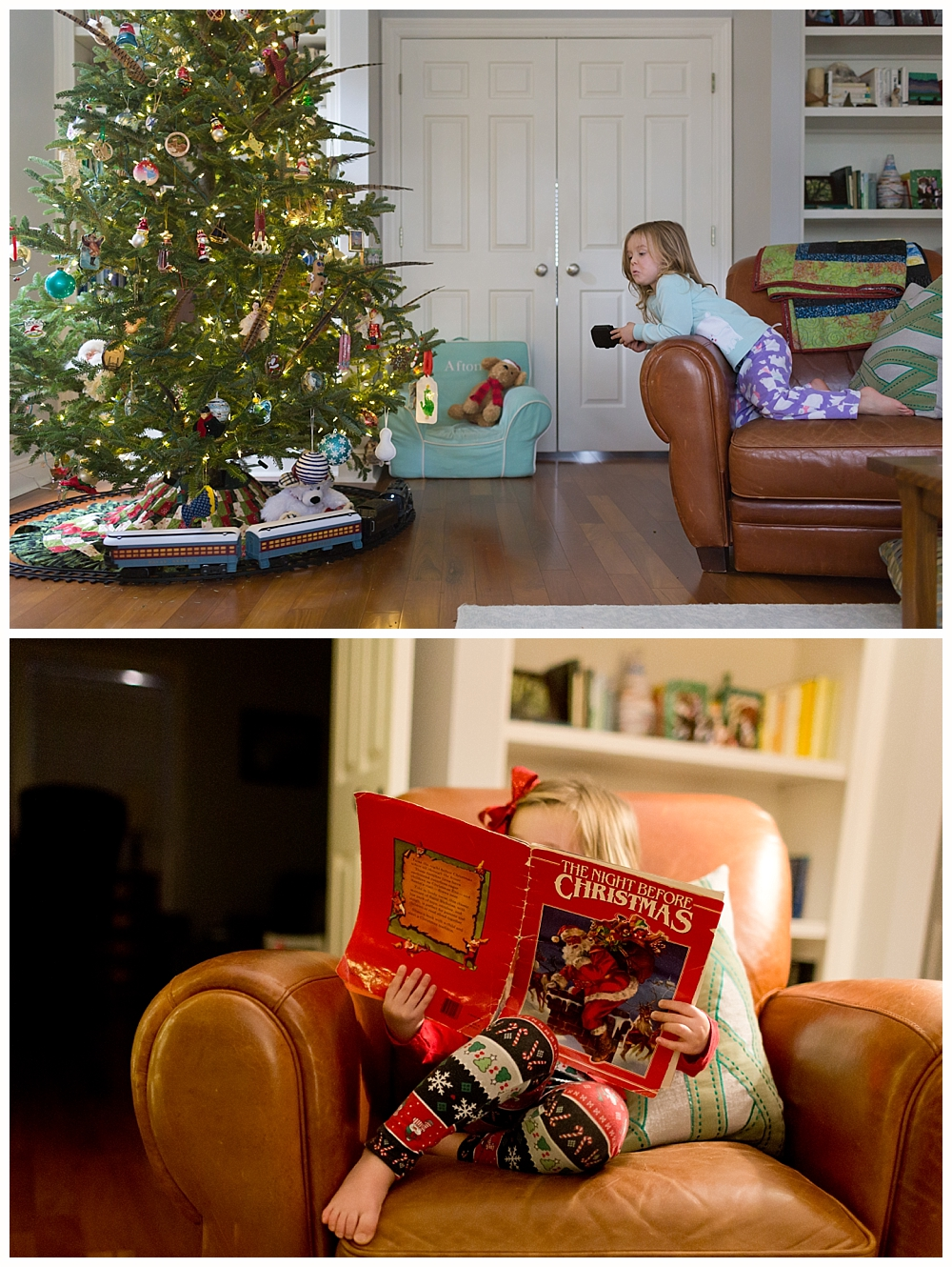 little girl with Christmas book and Polar Express train around Christmas tree