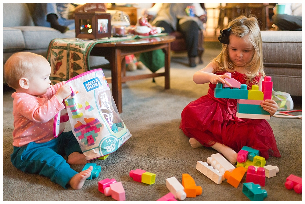little girls playing with blocks