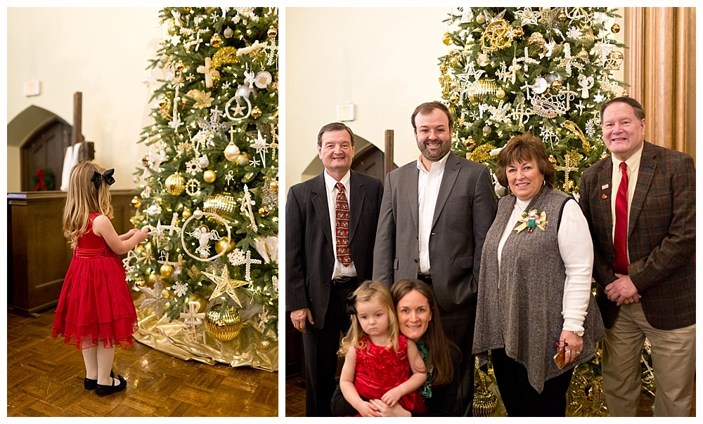 family with church Christmas tree