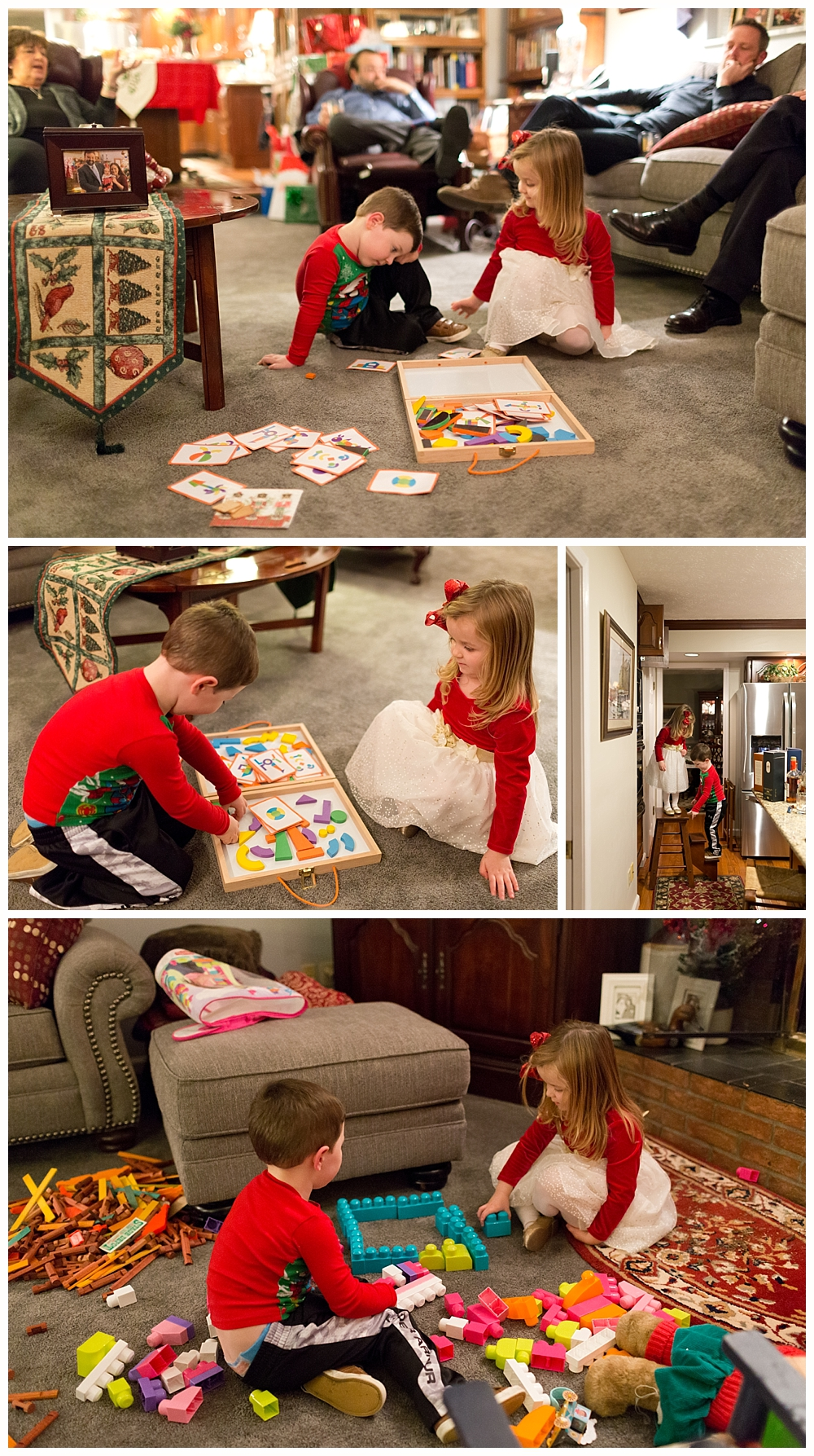 three-year-old kids playing together on Christmas Eve