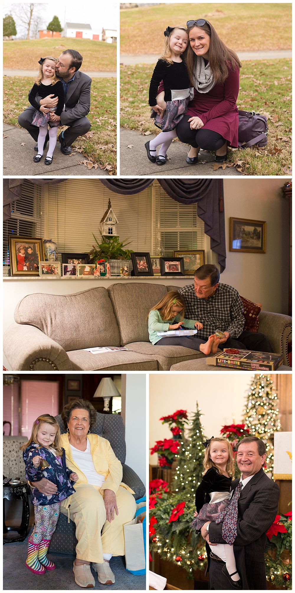 family snapshots at Christmastime
