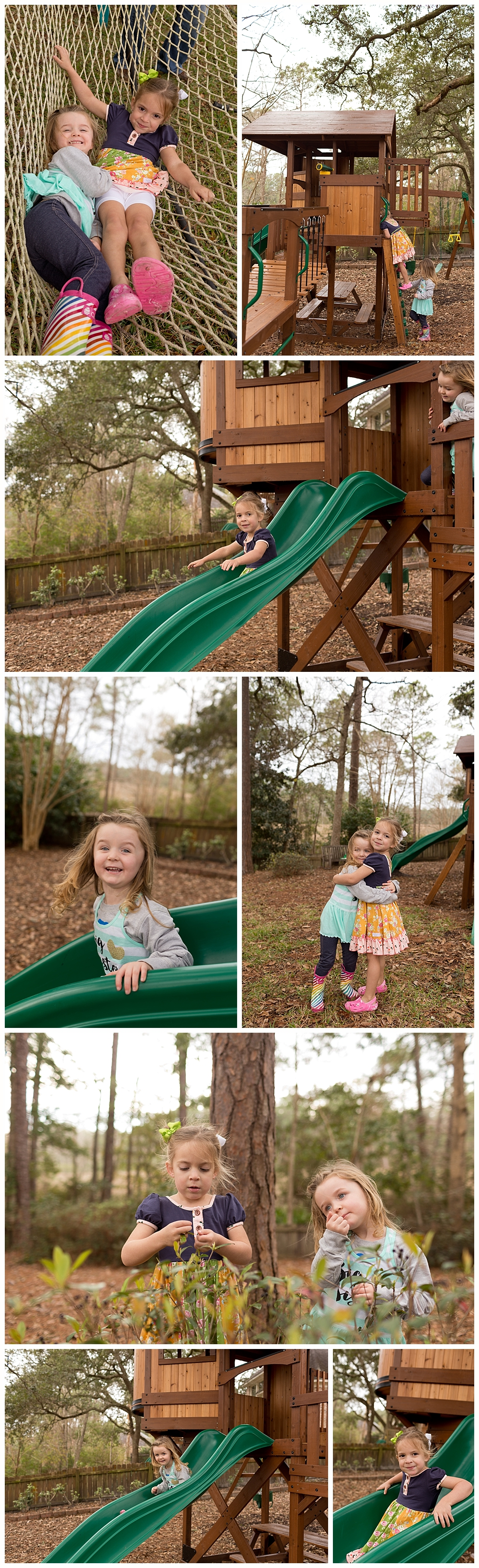 two girls playing outside on playset - fun with neighbors in Ocean Springs, MS