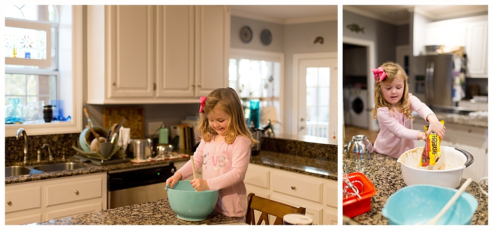 little girl making cookies in kitchen