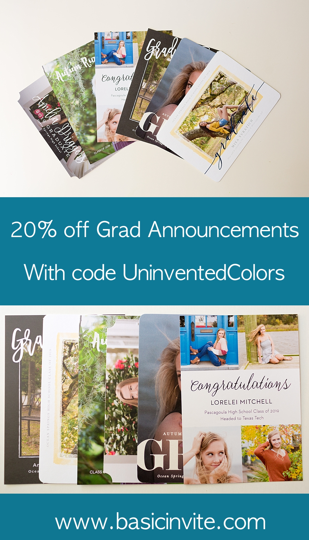 graduation invitation coupon from Ocean Springs, MS senior portrait photographer