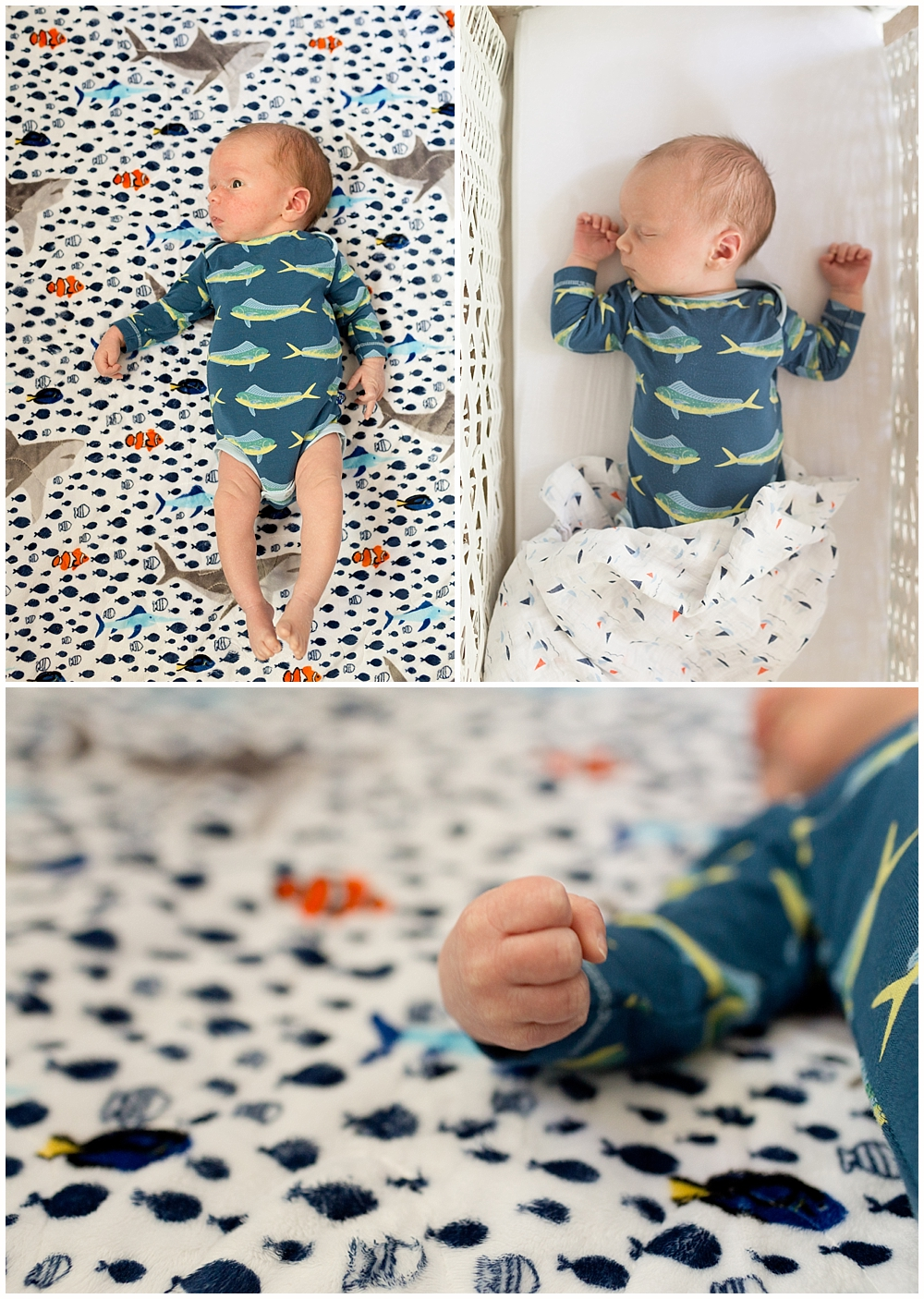 one month old baby boy with fish onesie and quilt