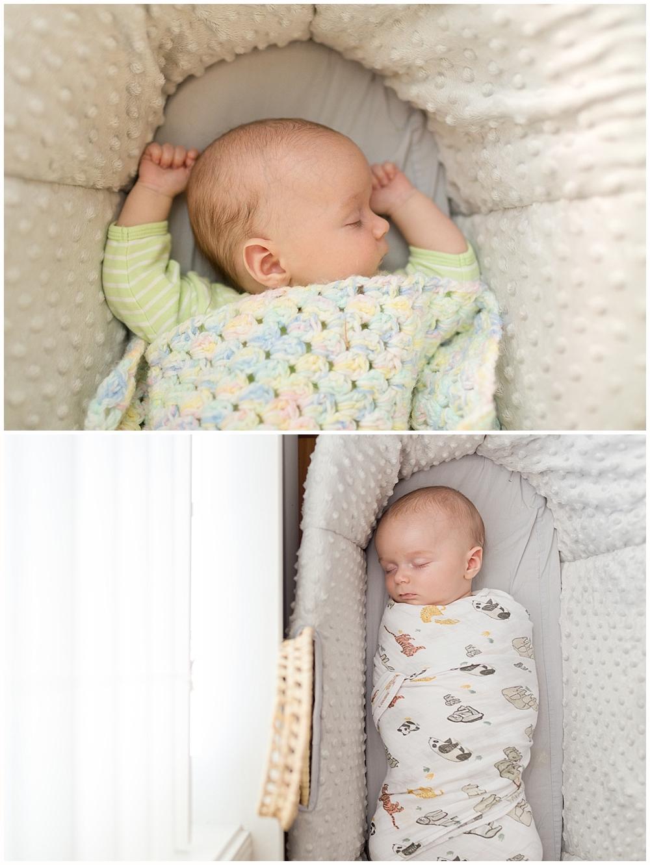 baby boy sleeping peacefully in Moses basket