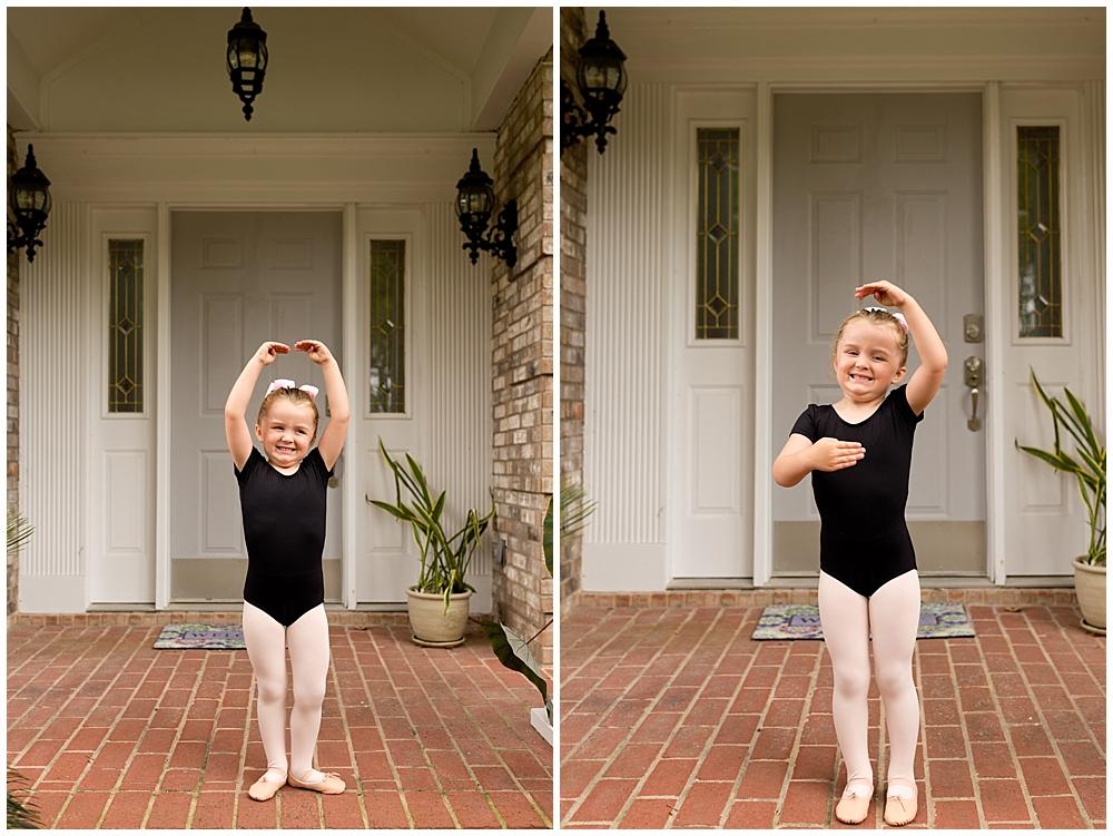 little girl ready for first ballet class
