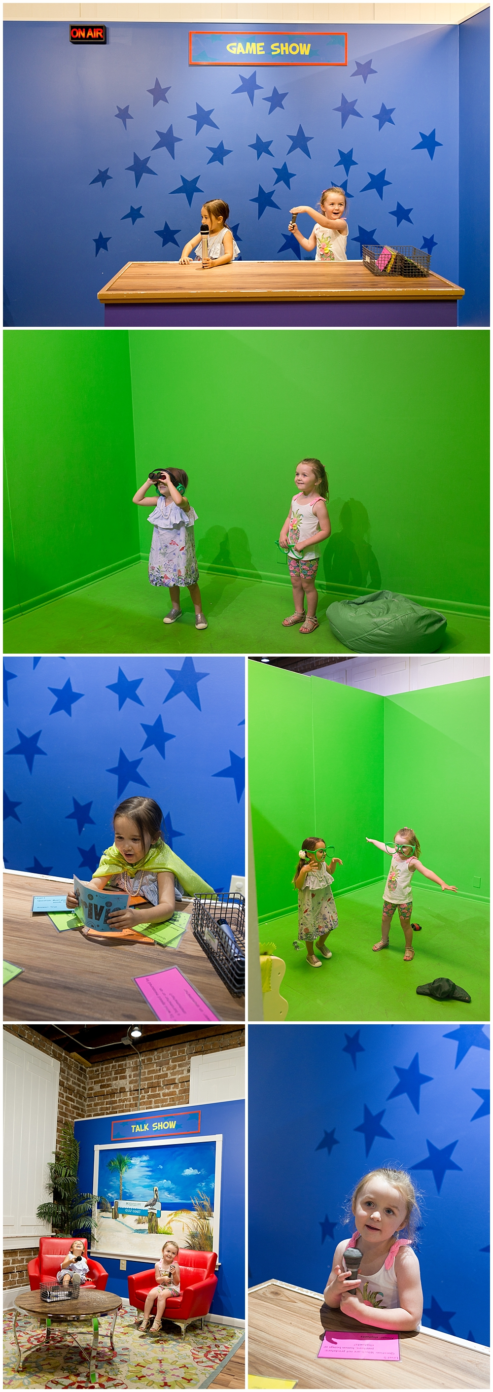little girls in pretend TV studio at Lynn Meadows Discovery Center