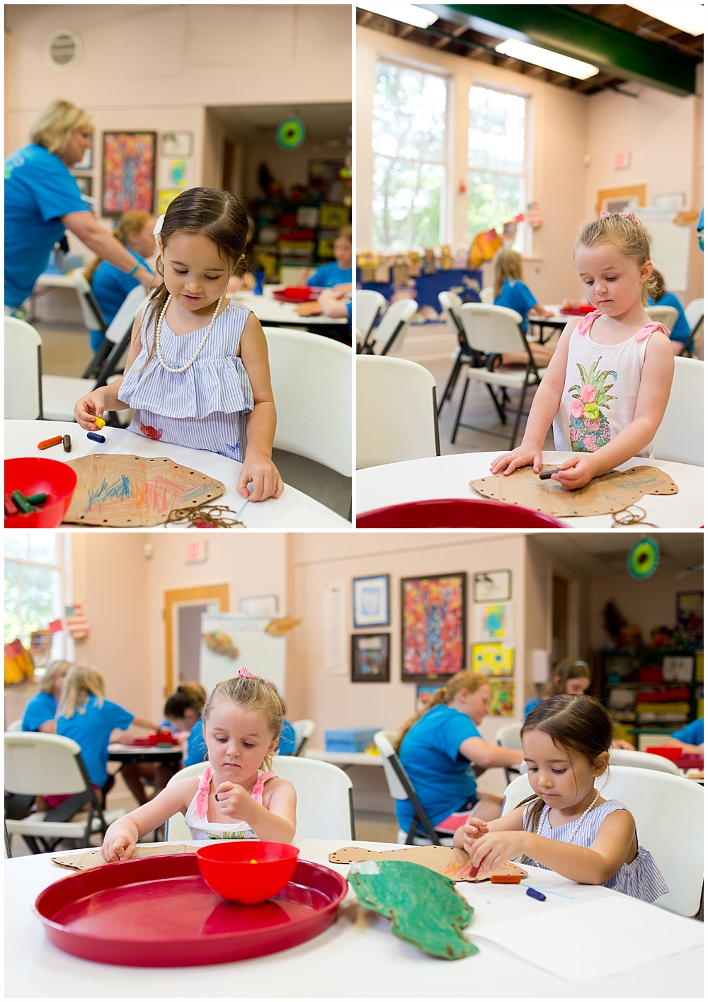 little girls doing an art project at Lynn Meadows Discovery Center