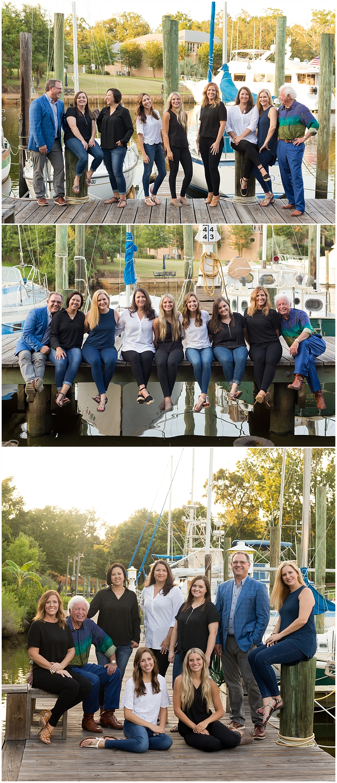 coworker group photos at Ocean Springs harbor
